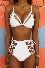 Load image into Gallery viewer, Spaghetti Strap  Lace Up  Hollow Out Plain Bikini