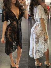 Load image into Gallery viewer, Deep V-Neck  Lace Kimono