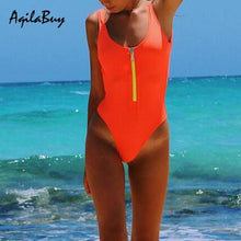 Load image into Gallery viewer, Sexy Zipper Pure Color One-Piece Swimwear