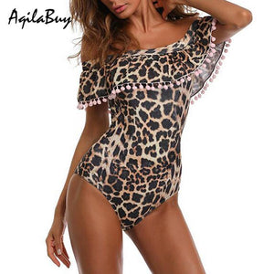 Sexy Ruffle Leopard Printed One-Piece Swimwear