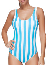 Load image into Gallery viewer, Backless  Contrast Piping  Striped One Piece