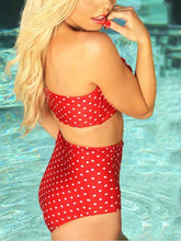 Load image into Gallery viewer, Collarless  Bowknot  Polka Dot One Piece