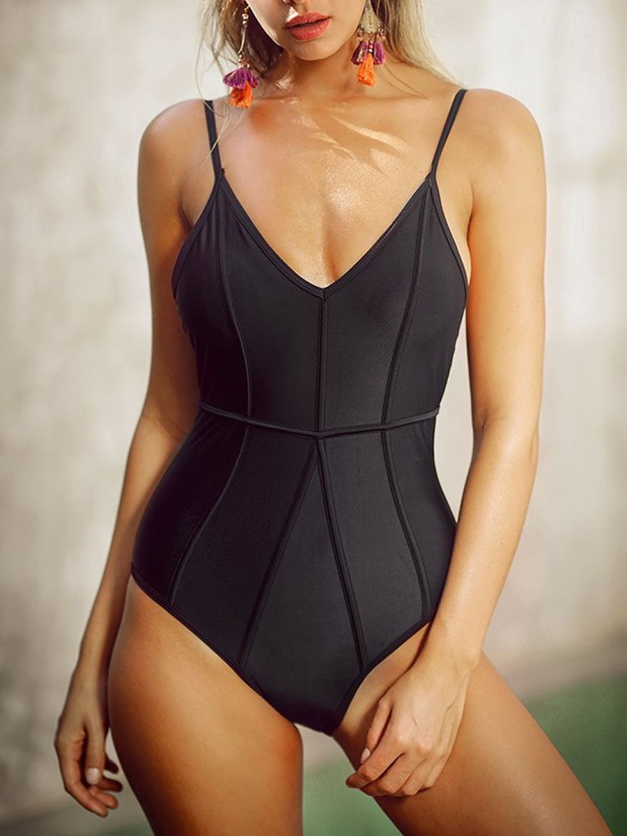 Spaghetti Strap  Plain One Piece