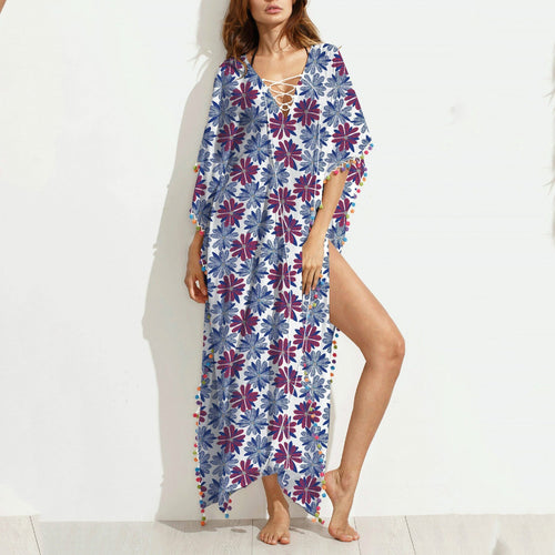 Loose Large-Size Printed One-Piece Dress