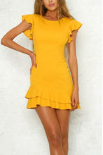 Load image into Gallery viewer, Yellow Elegant Lotus Leaf Sleeves Mini Dress