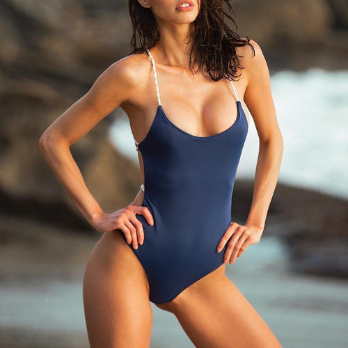 Sexy Pure Color Backless Swimwear