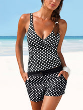 Load image into Gallery viewer, Deep V-Neck  Polka Dot  Mid-Rise Swimwear