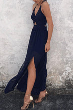 Load image into Gallery viewer, Halter  Backless High Slit  Plain  Sleeveless Maxi Dresses