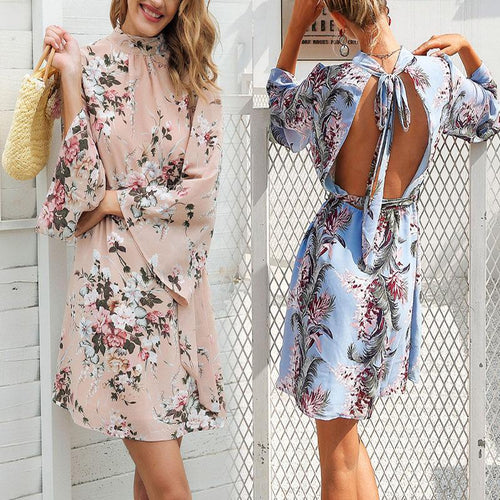 Bohemian Printing Backless Flare Sleeve Mini Vacation Dress