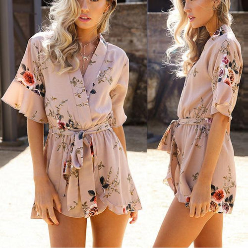 V-Neck Collect Waist Printed Short Playsuit