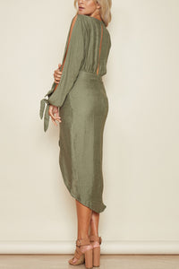 Fashion Long Sleeves V Neck Maxi Dress