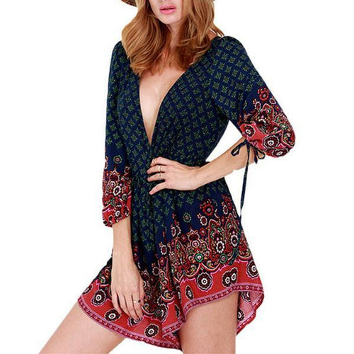 Middle Sleeve Printed Fashion Romper Suit Playsuit