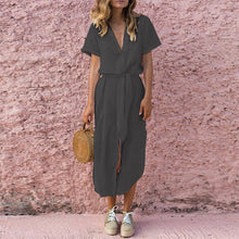 Load image into Gallery viewer, Deep V Buttons Down Short Sleeves Maxi Dress