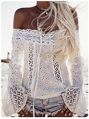Off Shoulder  Patchwork See-Through  Plain  Bell Sleeve Shirts&Blouses