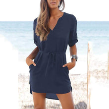 Load image into Gallery viewer, V Neck  Asymmetric Hem  Belt  Half Sleeve Casual Dresses