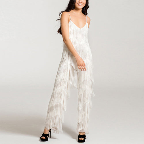 Sexy V-Neck Backless Sling Tassel Jumpsuit