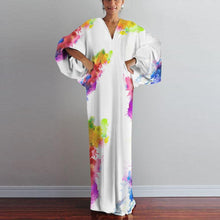 Load image into Gallery viewer, Fashion V Neck  Printed Colour Long Sleeve Maxi Dresses