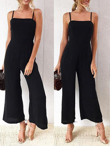 Casual Boat Neck Off-Shoulder Pure Colour Jumpsuits