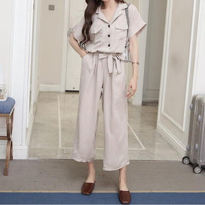 Casual Loose Frenulum High Waist  Slim Pure Color Wide Leg Jumpsuit