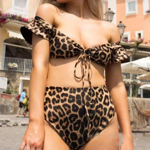 Round Neck  Drawstring  Two Way  Leopard Bikini