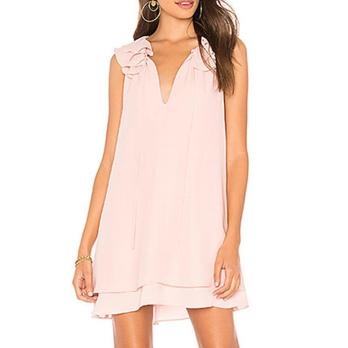 Casual V Neck Pure Colour Sleeveless Mini Dresses