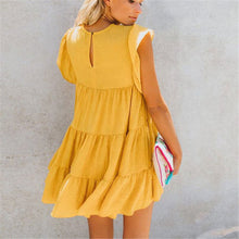 Load image into Gallery viewer, Sweet Round Collar Plain Ruffled Loose Vacation Dress