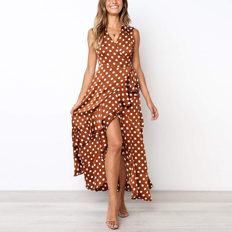 Casual Sexy V Neck   Sleeveless Frenulum Wave Point Maxi Dress