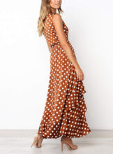 Load image into Gallery viewer, Casual Sexy V Neck   Sleeveless Frenulum Wave Point Maxi Dress