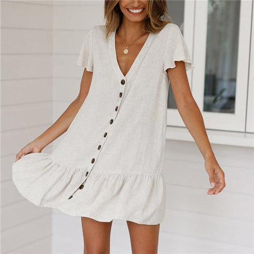 Single Row Deep V Neck Cotton And Hemp Mini Dress