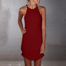 Load image into Gallery viewer, Casual Sling Pure Colour Sleeveless Shirt Mini Dresses