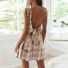 Load image into Gallery viewer, Deep V Collar Floral Printed Strappy Vacation Dress