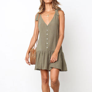 Fashion V Collar Plain Button Embellished Vacation Dress