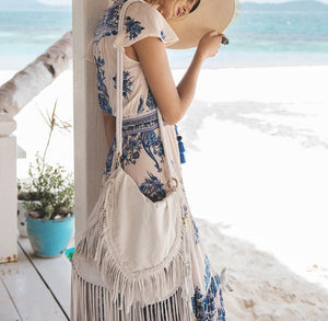Casual Sexy V Neck   Bohemian Style Floral Print Maxi Dress