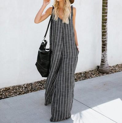 Cotton And Linen Style Wide-Leg Jumpsuit Strap