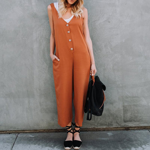 Casual V Neck Pure Colour Button Jumpsuits