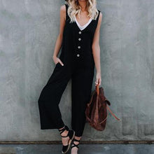 Load image into Gallery viewer, Casual V Neck Pure Colour Button Jumpsuits