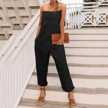 Load image into Gallery viewer, Casual Off Shoulder Plain Slim Wide Leg Jumpsuit