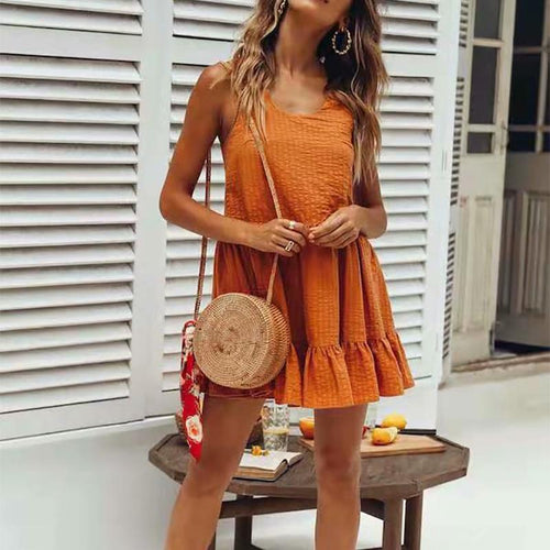 Casual Jacquard Stripes Sleeveless Mini Dresses