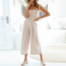 Load image into Gallery viewer, Cotton And Linen Buttoned Jumpsuit