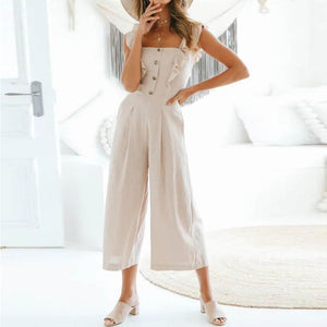 Cotton And Linen Buttoned Jumpsuit