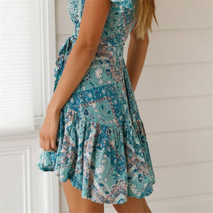 Summer V Collar Floral Printed Vacation Dress