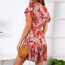 Load image into Gallery viewer, Summer V Collar Floral Printed Vacation Dress