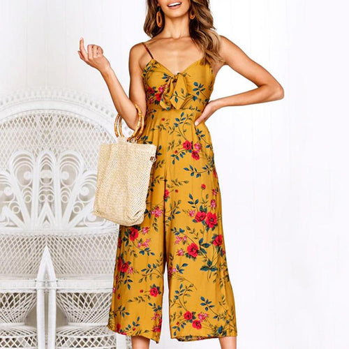 Fashion Printed Colour Sling Belted Jumpsuits
