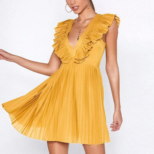 Sexy Deep V Hollow Out Pure Colour Mini Dresses