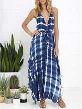 Load image into Gallery viewer, Fashion Printed Colour V Neck Bare Back Maxi Dresses