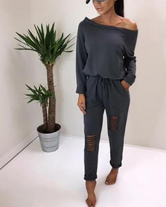 Sexy Off-The-Shoulder Hole Personality Jumpsuit