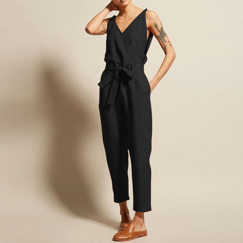 Casual V Collar Sleeveless Cotton And Linen Belted Looer Jumpsuits