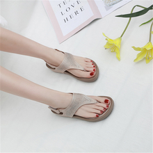Load image into Gallery viewer, Rhinestone wedge heel comfortable sandals