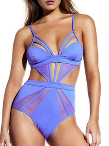 Spaghetti Strap  Hollow Out Plain One Piece