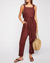 Load image into Gallery viewer, Strapless Backless Belt Linen Jumpsuit